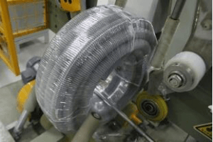 corrugated pipe hose coil stretch wrapping machine