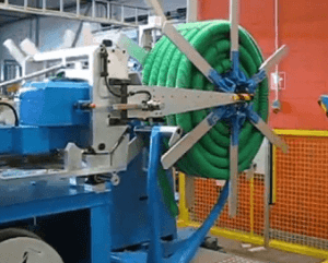 PE and PVC pipe coiling and strapping machine