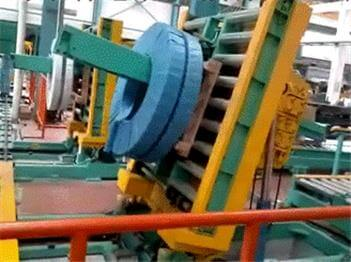 coil discharging machine for slit steel coils and copper coils