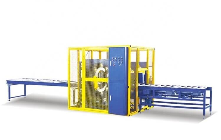 Orbital wrapping machine packaging wood strip and other wood materials