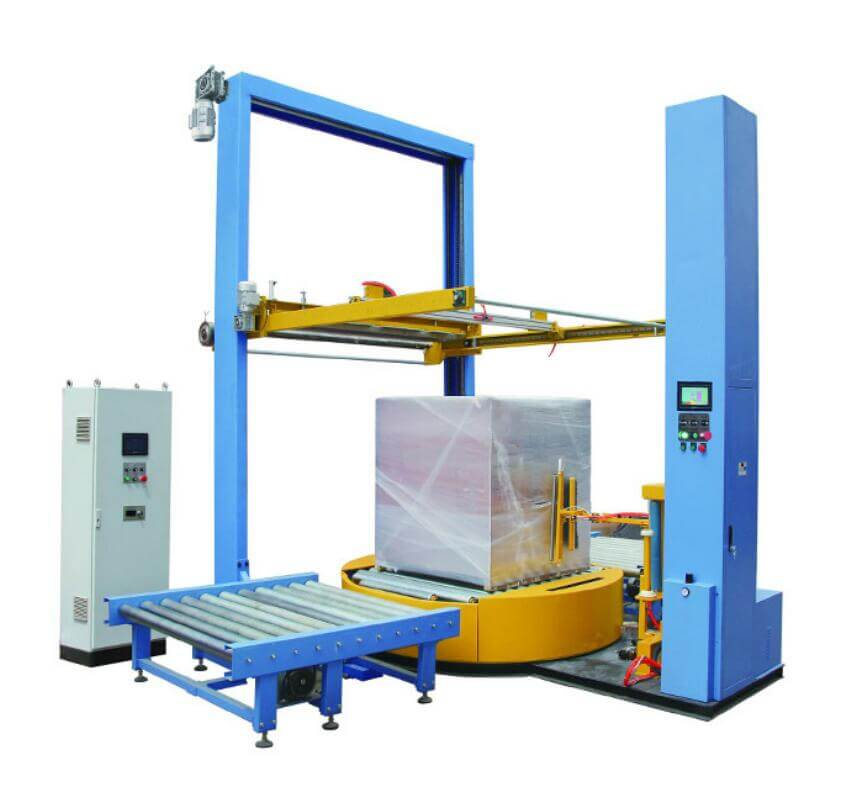 On-line pallet and skid winding machine